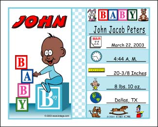 Personalized baby cartoon gifts including pictures address baby announcements negle Images